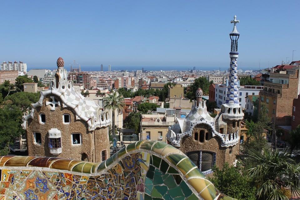 Coucher de soleil parc Guell Barcelone