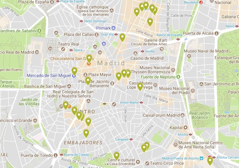 Carte Madrid Bonnes Adresses