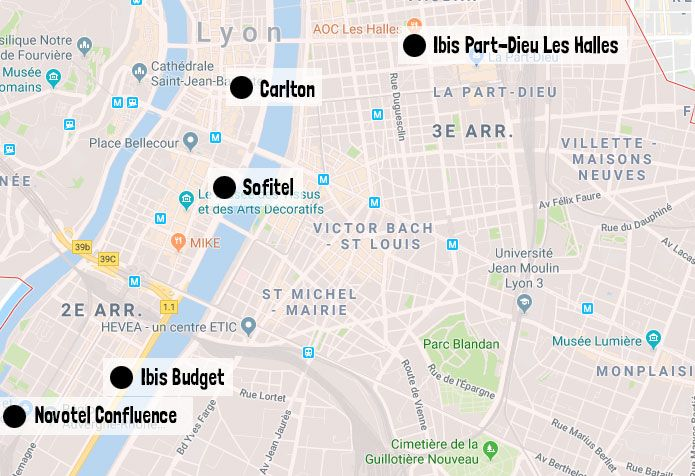 Carte des hôtels Lyon