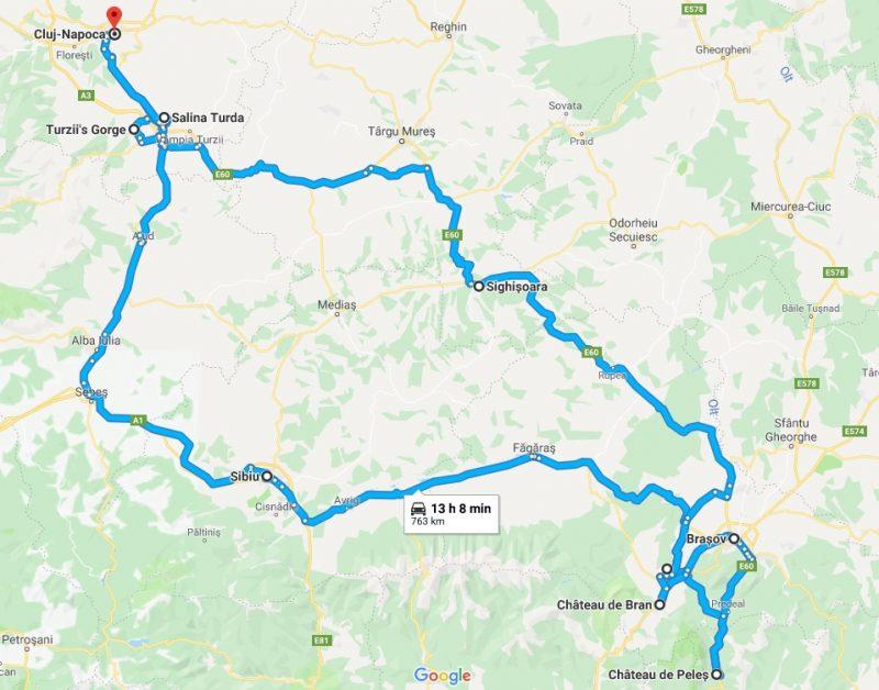 Parcours road trip Transylvanie