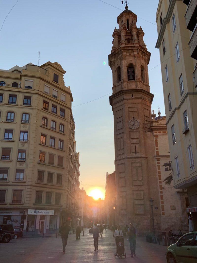 coucher de soleil à Valence