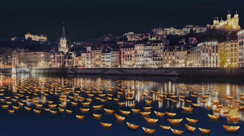 Lumignons sur la Saône à Lyon